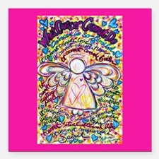 "Spring Heart Cancer Ange Square Car Magnet 3"" x 3"""