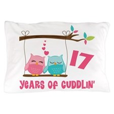 17th Anniversary Owl Couple Pillow Case