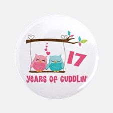 "17th Anniversary Owl Couple 3.5"" Button"