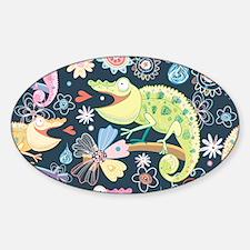 Whimsical Chameleons Sticker (Oval)