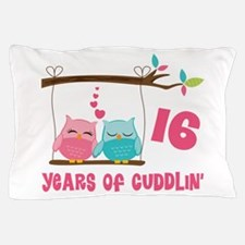 16th Anniversary Owl Couple Pillow Case