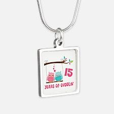 15th Anniversary Owl Couple Silver Square Necklace