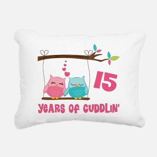 15th Anniversary Owl Couple Rectangular Canvas Pil