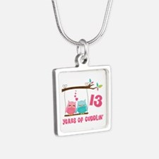 13th Anniversary Owl Couple Silver Square Necklace
