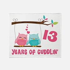 13th Anniversary Owl Couple Throw Blanket