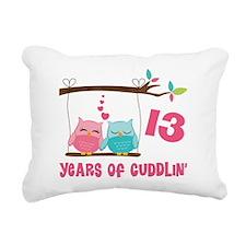 13th Anniversary Owl Couple Rectangular Canvas Pil