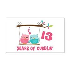 13th Anniversary Owl Couple Rectangle Car Magnet