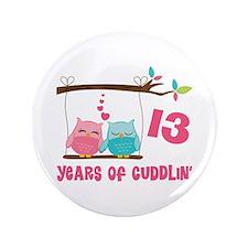 "13th Anniversary Owl Couple 3.5"" Button"