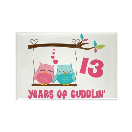 13th Anniversary Owl Couple Rectangle Magnet
