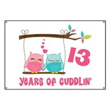 13th Anniversary Owl Couple Banner