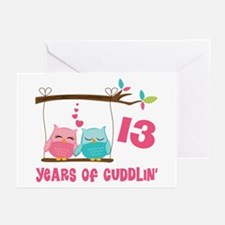 13th Anniversary Owl Couple Greeting Cards (Pk of