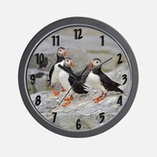 3 puffins Wall Clock