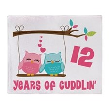12th Anniversary Owl Couple Throw Blanket