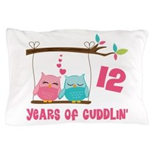 12th Anniversary Owl Couple Pillow Case