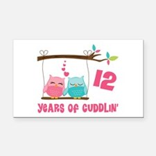 12th Anniversary Owl Couple Rectangle Car Magnet