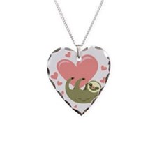 Sloth Necklace Heart Charm