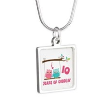 10th Anniversary Owl Couple Silver Square Necklace