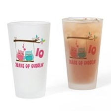 10th Anniversary Owl Couple Drinking Glass