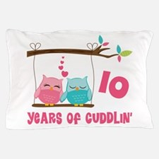 10th Anniversary Owl Couple Pillow Case