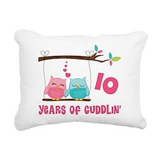 10th Anniversary Owl Couple Rectangular Canvas Pil