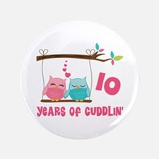 "10th Anniversary Owl Couple 3.5"" Button"