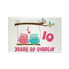 10th Anniversary Owl Couple Rectangle Magnet