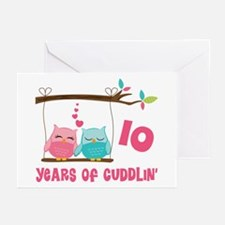 10th Anniversary Owl Couple Greeting Cards (Pk of