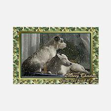 Jack Russell Terrier Dog Christma Rectangle Magnet