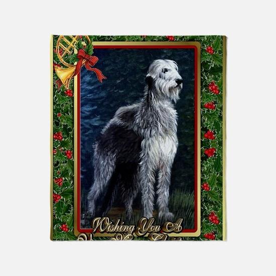 Irish Wolfhound Dog Christmas Throw Blanket