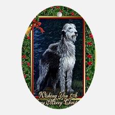 Irish Wolfhound Dog Christmas Oval Ornament