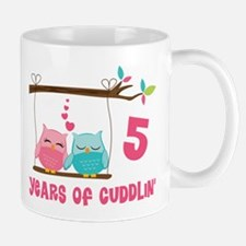 5th Anniversary Owl Couple Mug