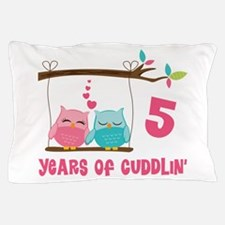 5th Anniversary Owl Couple Pillow Case