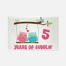 5th Anniversary Owl Couple Rectangle Magnet