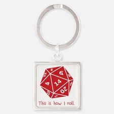How I Roll Square Keychain