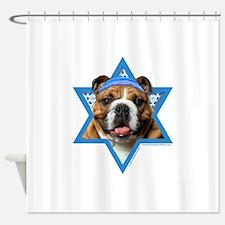 Hanukkah Star of David - Bulldog Shower Curtain