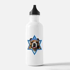 Hanukkah Star of David - Bulldog Water Bottle