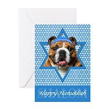 Hanukkah Star of David - Bulldog Greeting Card