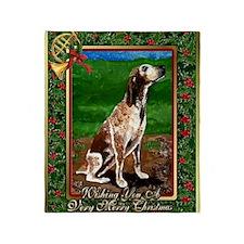 Redtick Coonhound Dog Christmas Throw Blanket