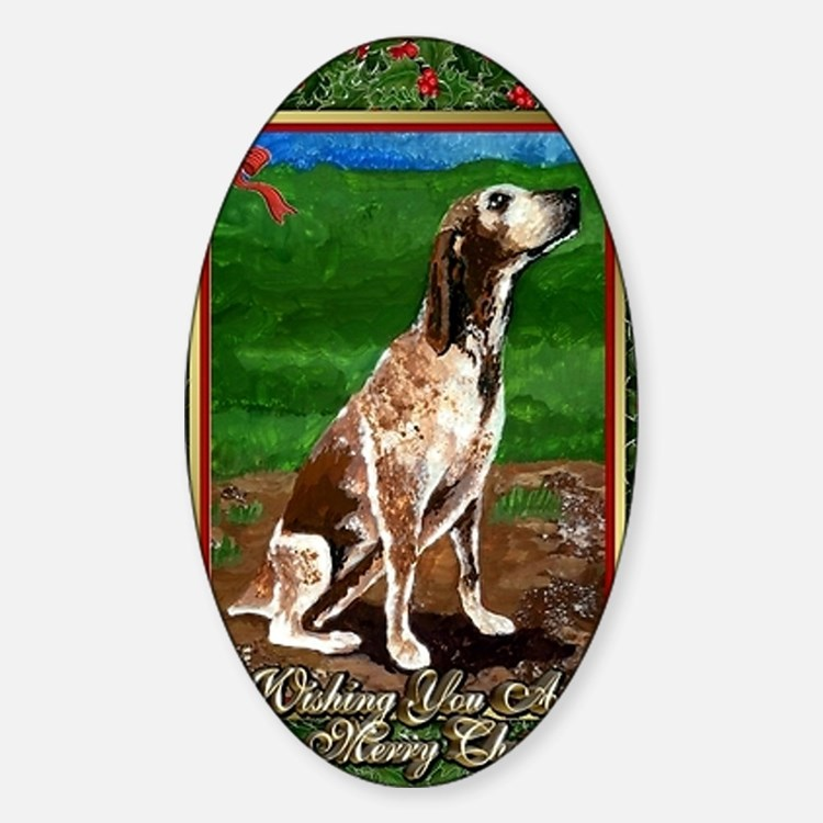 Redtick Coonhound Dog Christmas Decal