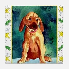 Rhodesian Ridgeback Dog Christmas Tile Coaster