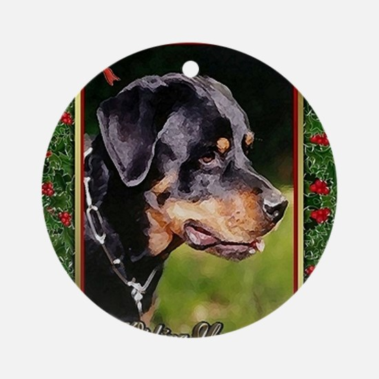 Rottweiler Dog Christmas Round Ornament