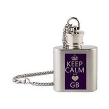 Keep Calm and Heart GB Flask Necklace