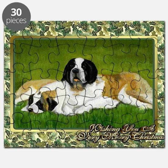 Saint Bernard Dog Christmas Puzzle