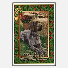 German Wirehaired Pointer Dog Christmas Banner