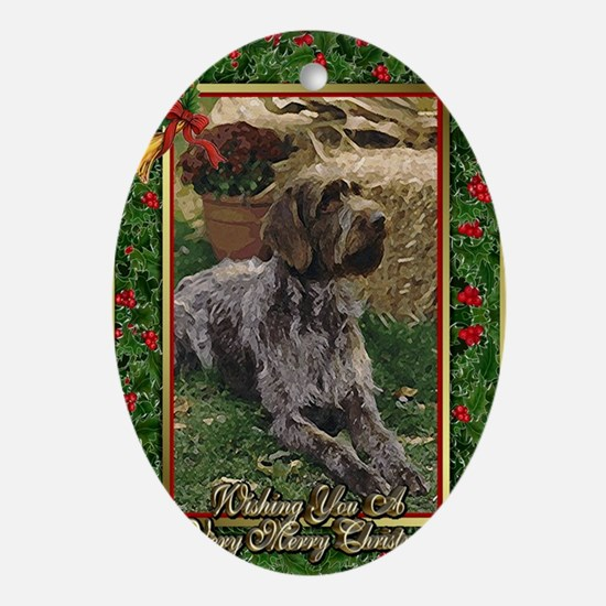 German Wirehaired Pointer Dog Christ Oval Ornament