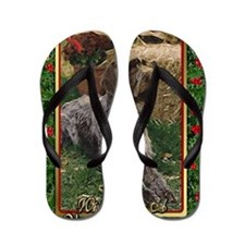 German Wirehaired Pointer Dog Christmas Flip Flops