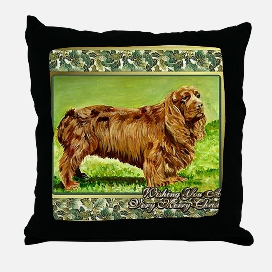Sussex Spaniel Dog Christmas Throw Pillow