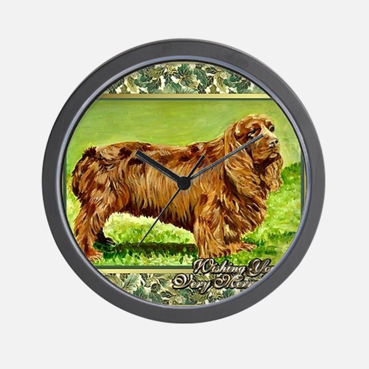 Sussex Spaniel Dog Christmas Wall Clock