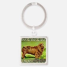 Sussex Spaniel Dog Christmas Square Keychain