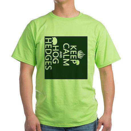 Keep Calm and Hog Hedges (hedgehogs) Green T-Shirt